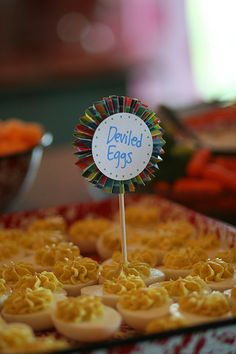 I love deviled eggs. Cute Food, Yummy Food, Food Labels, Deviled Eggs, Summer Parties, Beach Party, Kitchen Sink, 5 Years, Sweet 16