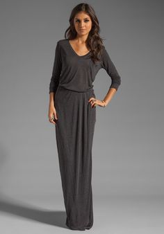 "HEATHER Split T Dress in HEATHER Black at Revolve Clothing - Shoulder seam to hem measures approx 66"" in length"