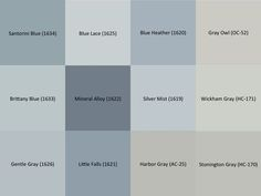 Benjamin Moore Gray and Blue paint samples for the interior of the house: Stonington Gray Wickham Gray Gray Owl Harbor Gray Silver Mist Blue Heather Little Falls Mineral Alloy Blue Lace Gentle Gray Brittany Blue Santorini Blue Bathroom Colors Gray, Bathroom Color Schemes, Paint Color Schemes, Kitchen Paint Colors, Room Paint Colors, Interior Paint Colors, Wall Colors, House Colors, Bathroom Gray