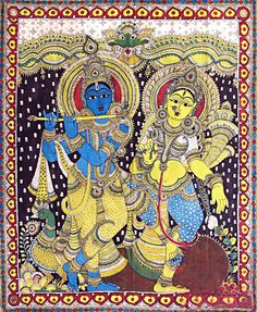 Lord Krishna with his beloved Radha - Kalamkari Painting