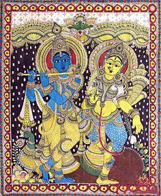 Lord Krishna with his beloved Radha - Kalamkari Painting