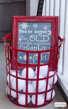 Warm and Cozy Winter Decorating Ideas for the Front Porch paint my metal container red like this one