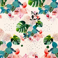 Art&Ghosts #patterndesign -tropical-palm frauns-flowers