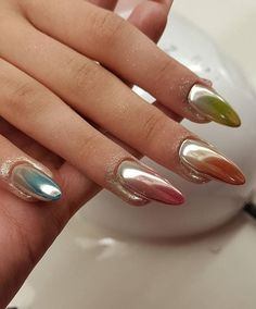 Multi Chrom Nails Love  Indigo MetalManix #nails #nail #metal #chrome #manix…