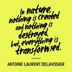 """In nature, nothing is created and nothing is destroyed, but everything is transformed"" — Antoine Laurent Delavosier #FashRev #fashion #quote"
