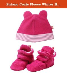 Zutano Cozie Fleece Winter Hat and Baby Bootie Set Fuchsia Pink - 6M. >b> Zutano Fleece Booties and Hat Set: Zutano fleece baby booties and baby cap are soft comfortable and warm. Fleece Booties: The loose fitting soft sole design is perfect for delicate little feet. Booties have a unique two-snap design and soft elastic around the ankle that helps the booties stay on. our customers purchase these adorable booties season after season. Customers rave reviews say Zutano booties actually…