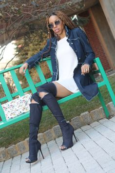 Distressed Jean Boots on CornerCurlGirl.com