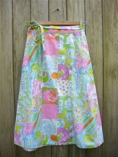 Vintage Lily Pulitzer Skirt, pastel colors, size medium. $46.00, via Etsy.
