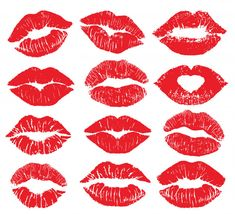 Different Shapes Of Female Sexy Red Lips. Print Of Lips Kiss Lipstick kiss print isolated big set. Lip Print Tattoos, Mini Tattoos, Kiss Lip Tattoos, Red Lips Tattoo, Red Lipstick Quotes, Lipstick Kiss, Besos Tattoo, Lips Cartoon, Female Lips
