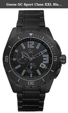 69207938d85f Guess GC Sport Class XXL Blackout Ceramic Mens Watch Black ceramic case  with a black ceramic bracelet.