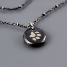 Small Chunky Paw Print Necklace by lisahopkins on Etsy, $56.00
