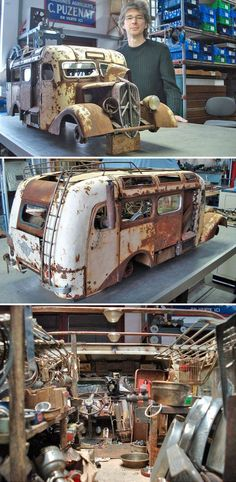 Incredible detail in this model of an old abandoned house bus - artist not credited for fuck's sake.
