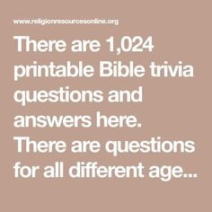 There are printable Bible trivia questions and answers here. There are questions for all different age and difficulty levels. : There are printable Bible trivia questions and answers here. There are questions for all different age and difficulty levels. Bible Questions For Kids, Bible Games For Youth, Bible Questions And Answers, Quiz With Answers, Bible For Kids, This Or That Questions, Bible Trivia Quiz, Trivia Games, Party Games