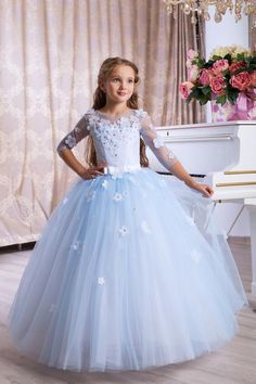 Girls dress with flowers. This dress for flower girls is made of tulle and satin. Fluffy beautiful soft skirt and beautiful corset - satin, tulle and flowers, zipper, lacing. Girls Dresses Uk, Kids Flower Girl Dresses, Flower Girl Gown, Gowns For Girls, Wedding Dresses For Girls, Flower Dresses, Pretty Dresses, Childrens Bridesmaid Dresses, Light Blue Bridesmaid Dresses