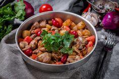 Куриные потрошки в сковороде-азербайджанский рецепт