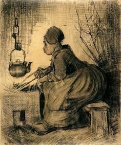 Woman by a Hearth - Vincent van Gogh