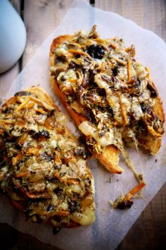 Mushroom Melts - can be veganized by trading the butter in for olive oil and leaving out the cheese.
