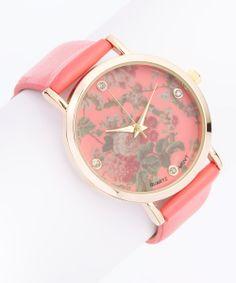 Coral Crystal Floral Watch
