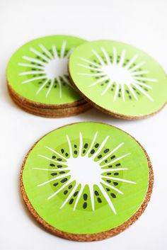 Printable Kiwi Drink Coasters