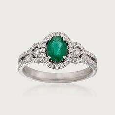 .80 Carat Emerald and .50 Carat Total Weight Diamond Ring in 18-Karat White Gold (817541) | Sidney Thomas