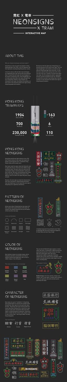 霓虹 X 電車 Neon Signs X Tram by Kylie Lee, via Behance
