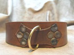 Brown Leather Slave Collar Submissve by TheLeatherLaboratory