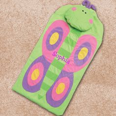 "Personalized Embroidered 24.75"" x 52.5"" Butterfly Nap Mat"