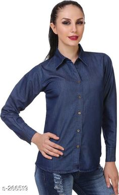 Shirts Fashionable Denim Women's Shirt  *Fabric* Denim   *Sleeves* Sleeves Are Included   *Size* S - 36 in, M - 38 in, L - 40 in, XL - 42 in   *Length* Up To 25 in            *Type* Stitched   *Description* It Has 1 Piece Of Shirt   *Pattern* Solid  *Sizes Available* S, M, L, XL *   Catalog Rating: ★4 (145)  Catalog Name: Free Mask  Trendyfrog Classy Denim Shirts Vol 14 CatalogID_27770 C79-SC1022 Code: 213-266519-