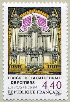 Zoom sur le timbre «L´orgue de la cathédrale de Poitiers »