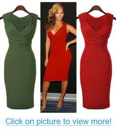 Miusol Women's V-Neck Ruffles Club Sleeveless Dress