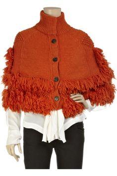 Naranja Knit del poncho de Vanessa Bruno el 02 de febrero de 2011 @ 17:00: mezcla de lana de color naranja de punto grueso vista frontal poncho