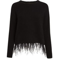 Weekend MaxMara Chicca Ribbed Ostrich Feather Jumper, Black (14.130 RUB) ❤ liked on Polyvore featuring tops, sweaters, long sleeve jumper, round neck sweater, long sweaters, jumper top and raglan top