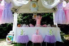 Love the tulle on the little stools - Ballerina Birthday Party