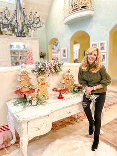 A Cute Cookie Corner + Pieces I Thought Were Gone For Good! Gingerbread Christmas Decor, Grinch Christmas Decorations, Gingerbread Decorations, Christmas Tablescapes, Christmas Candy, Rustic Christmas, Christmas Themes, Gingerbread Men, Christmas Wreaths
