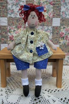 """13"""" Primitive Raggedy Ann doll yellow shirt blue pants painted face red hair.  crafts, dolls, handmade, primitive, hand crafted, raggedy ann, country, quilted, hand painted, cute, craft, minnesota,"""
