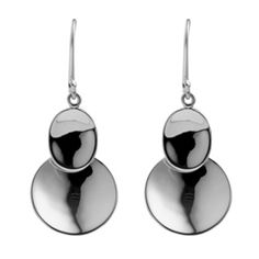 Najo Sterling Silver Oval/Circle Drop Earrings