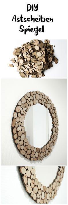 DIY Spiegel rund mit Astscheiben Holz Makeover Upcycling || DIY mirror upcycling ideas with wooden plates