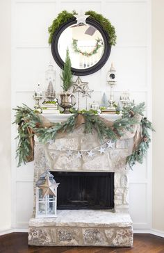"Beautiful holiday mantle display ""Christmas Starry Woodland"" from Candice Stringham"