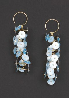 Earrings | Ralph Bakker.  Silver, gold and enamel.