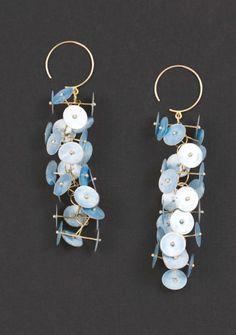 Earrings | Ralph Bakker.  Silver, gold and enamel.