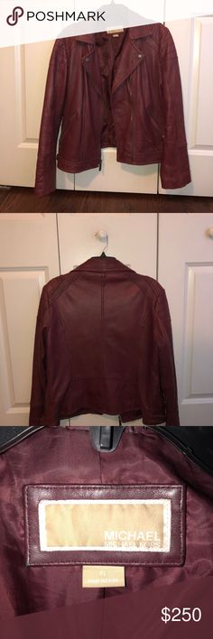 MICHAEL KORS JACKET Michael Kors leather jacket!  Gently used.  Around the neck it has some darker sports due to usage  Overall good condition  No other scrapes or marks.  Perfect for layering this fall/winter! MICHAEL Michael Kors Jackets & Coats
