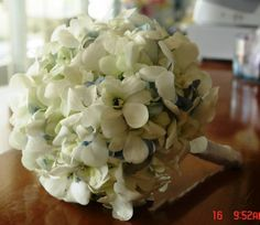 Bridal Bouquet White Orchid with Blue Hydrangea Accent TFM-WB290