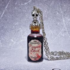 Vampire Blood Silver Skull Necklace ~ by Adorna Jewellery on Etsy