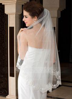 Wedding Veils - $23.99 - One-tier Fingertip Bridal Veils With Lace Applique Edge (006036618) http://jjshouse.com/One-Tier-Fingertip-Bridal-Veils-With-Lace-Applique-Edge-006036618-g36618