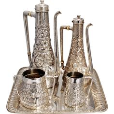Gotham Sterling Silver Turkish Style Tea & Coffee Set Vintage & antique tea pots, teaspoons, tea caddy, tea strainer and tea clothes at Ruby Lane www.rubylane.com @rubylanecom #antiquetea