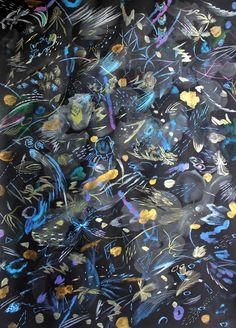 ADOKA NIITSU Le Piaffer # W Acrylic, Pen, Pencil on color paper, 19.6 x 27.5 in / 50 x 70cm, 2014
