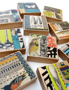 collage art blocks by Suzanna Scott http://www.etsy.com/shop/sushipot http://sushipot.blogspot.com/