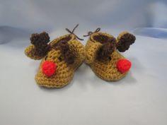 Reindeer Handmade Crocheted Christmas Baby by LightsCameraCrochet