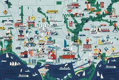 Cruschiform's 'Neighborhood' illustrated map of Toronto, Ontario, Canada ... each neighbourhood icon depicts its perceived personality, c. 2010s