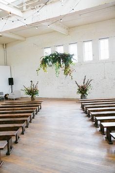 organic indoor ceremony - photo by Hazelwood Photo http://ruffledblog.com/scottish-chic-wedding-in-portland
